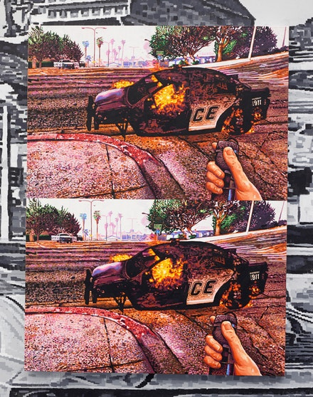 Mathew Zefeldt, <em>Pipe Bomb and Police Car</em>, 2018. Acrylic on canvas over panel, 48 x 36 inches. Courtesy The Hole, New York.