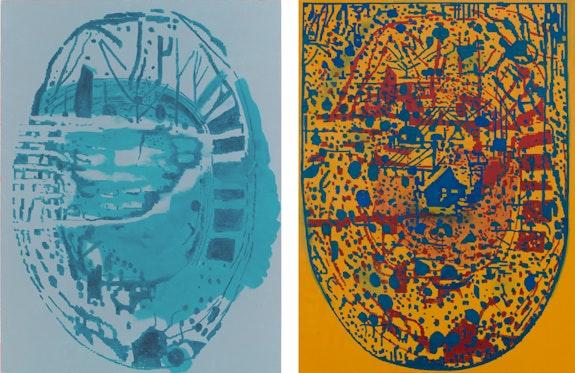 EJ Hauser, Left: <em>blue wing blue starchart</em>, 2018. Right: <em>the primary forest pocket</em>, 2018. Oil on canvas, both 59 x 39 inches. Courtesy Derek Eller.</p>
