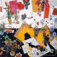 <p>Manny Farber, <em>Cézanne avait écrit</em>, 1986, oil on board, 72 ×72 in. (182.88 ×182.88 cm), courtesy of Quint Gallery, San Diego.</p>