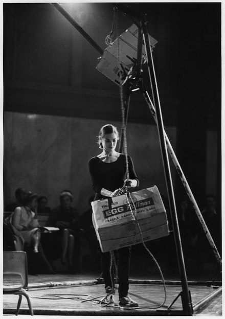 Peter Moore's photograph of Lucinda Childs in <em>Egg Deal</em>, 1963. Performed at Concert of Dance #13, Judson Memorial Church, New York, November 20, 1963. © Barbara Moore/Licensed by VAGA, New York, NY. Courtesy Paula Cooper Gallery, New York.