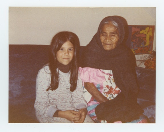 Eva Aridjis and María Sabina '83. Photo: Homero Aridjis.Towards the end of María Sabina's life, Homero Aridjis and his wife Betty heard that she was ailing and arranged for her to be transported from her home to Mexico City to receive medical treatment and later to live with them for a time. This photograph of María Sabina and Eva Aridjis is from that period.
