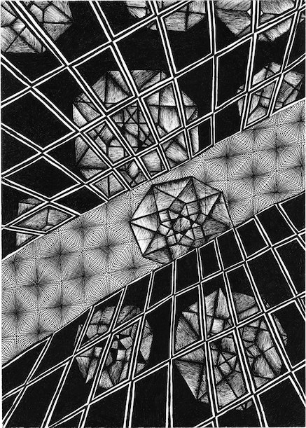 Charles Stein, <em>Untitled</em>, 2017. Ink on paper, 15 x 10.5 inches. Collection the artist. Courtesy Station Hill Press.