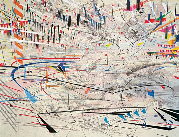 <p>Julie Mehretu, <em>Stadia I</em>, 2004. Ink and acrylic on canvas, 108 x 144 inches. Photo: Richard Stoner. © Julie Mehretu.</p>