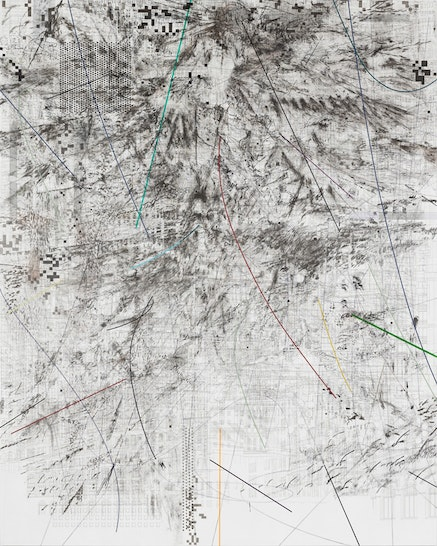 <p>Julie Mehretu, <em>Mogamma (A Painting in Four Parts)</em>, 2012. Ink and acrylic on canvas, 180 x 144 inches. Photo: Ben Westoby. Courtesy the artist, White Cube, London and Marian Goodman Gallery, New York &copy; Julie Mehretu.</p>