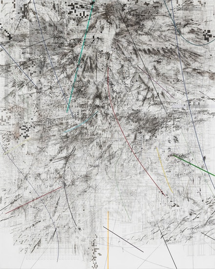 <p>Julie Mehretu, <em>Mogamma (A Painting in Four Parts)</em>, 2012. Ink and acrylic on canvas, 180 x 144 inches. Photo: Ben Westoby. Courtesy the artist, White Cube, London and Marian Goodman Gallery, New York © Julie Mehretu.</p>