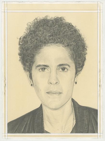 Portrait of Julie Mehretu, pencil on paper by Phong Bui.
