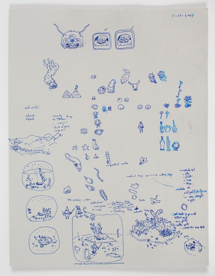 <p>Ian Cheng, <em>BOB: Production Drawings</em>,2018-2019. Ink on gray stock,double-sided, 8.5 x 11 inches. Courtesy the artist and Gladstone Gallery, New York and Brussels.</p>