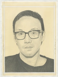 Portrait of Ian Cheng, pencil on paper by Phong Bui.