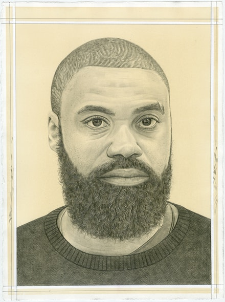 Portrait of Kevin Beasley, pencil on paper by Phong Bui.