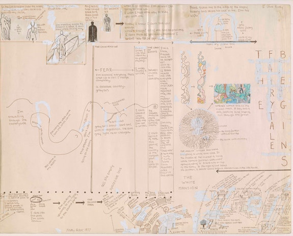 <p>Kathy Acker, <em>Dream Map 2 (Ausschnitt)</em>, 1977. Kathy Acker Papers, David M. Rubenstein Rare Book &amp; Manuscript Library, Duke University.</p>