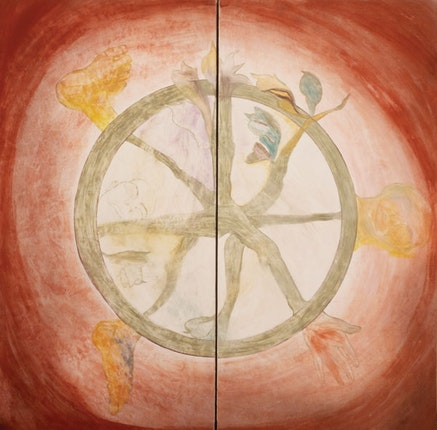 Francesco Clemente,<em> Wheel of Dharma</em>, 1983. Fresco: two panels, 96 x 96 inches. Courtesy the artist.