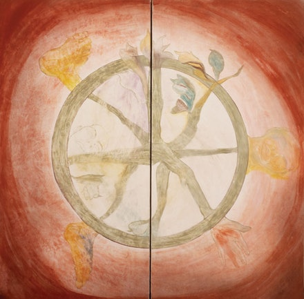 Francesco Clemente,<em> Wheel of Dharma</em>, 1983. Fresco: two panels, 96 x 96 inches. Courtesy the artist.