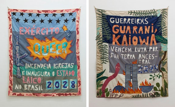 Randolpho Lamonier, from <em>Profecias </em>[Prophecies], 2018. Sewing and embroidery on fabric, 73 x 61 inches each. Courtesy the artist.