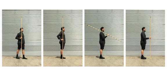 Mano Penalva, <em>Porta Bandeira.Test for resistance</em> <em>(1 - Conducted in parade, 2 - Rest position, 3 - Shoulders arms, 4 - In continence)</em>, 2018. Photographs, 39 1/2 x 27 1/2 inches each. Courtesy the artist.