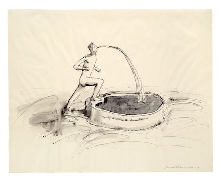 <p>Bruce Nauman, <em>Myself as a Marble Fountain, </em>1967. Ink with wash, 19 x 24 inches. &copy; 2018 Bruce Nauman/Artists Rights Society (ARS), New York. Photo: Kunstmuseum Basel, Martin P. B&uuml;hler.</p>