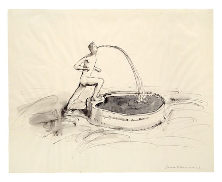 <p>Bruce Nauman, <em>Myself as a Marble Fountain, </em>1967. Ink with wash, 19 x 24 inches. © 2018 Bruce Nauman/Artists Rights Society (ARS), New York. Photo: Kunstmuseum Basel, Martin P. Bühler.</p>
