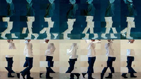 <p>Bruce Nauman, <em>Contrapposto Studies, i through vii</em>,2015/16. Seven-channel video (color, sound, continuous duration), dimensions variable. The Museum of Modern Art, New York. © 2018 Bruce Nauman/Artists Rights Society (ARS), New York. Photo courtesy the artist and Sperone Westwater, New York.</p>