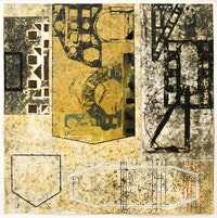 David Rabinowitch, <em>Untitled (Périgord Construction of Vision)</em>, 2012. Beeswax, crayon, graphite, oil, oil based ink and collage on paper, 26 x 26 inches. Courtesy the artist and Peter Blum Gallery, New York.