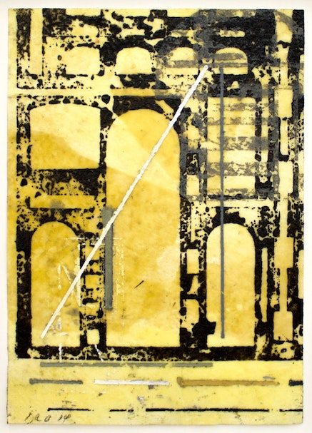 David Rabinowitch, <em>Untitled (P&eacute;rigord Construction of Vision)</em>, 2014. Beeswax, crayon, oil and oil based ink on paper, 17 x 12 1/8 inches. Courtesy the artist and Peter Blum Gallery, New York.