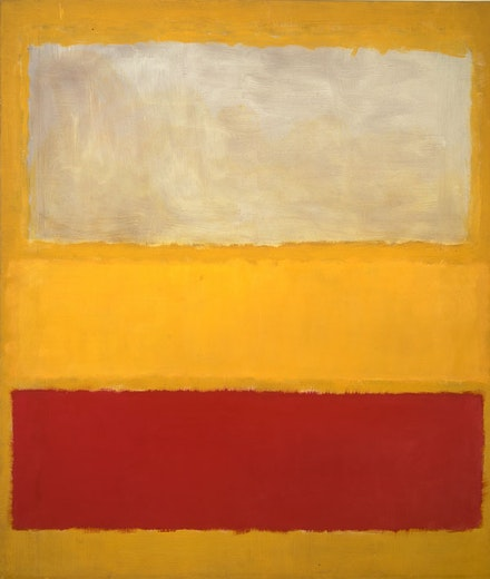 Mark Rothko, <em>No. 13 (White, Red on Yellow), </em>1958. Oil and acrylic with powdered pigments on canvas</p>