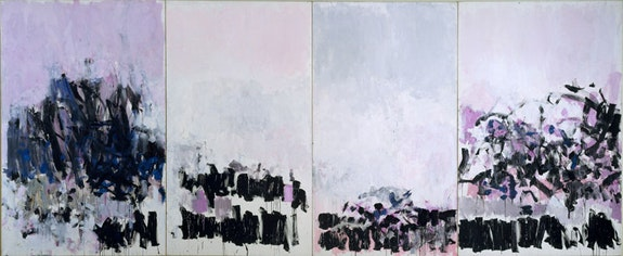 Joan Mitchell, <em>La Vie en Rose, 1979. </em>Oil on canvas, 110 1/2 x 267 15/16 x 4 inches overall. © Estate of Joan Mitchell.
