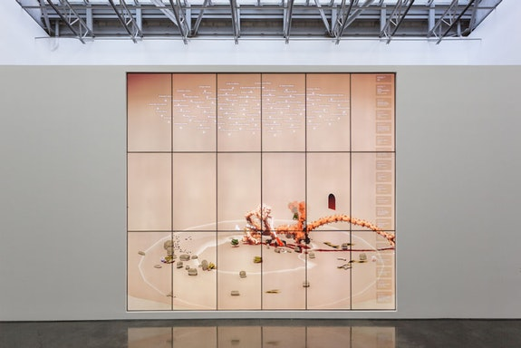 Ian Cheng, <em>BOB</em>, installation view, Gladstone Gallery, New York, 2019. Photo: David Regen. Courtesy the artist and Gladstone Gallery, New York and Brussels.