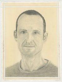 Portrait of Emil Lukas, pencil on paper by Phong Bui.