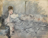 <p>Berthe Morisot, <em>Woman in Grey Reclining</em>, 1879. Oil on canvas. Private collection. Photo: Christian Baraja.</p>