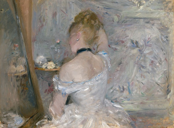 <p>Berthe Morisot,&nbsp;<em>Woman at Her Toilette</em>, 1875&ndash;1880. Oil on canvas. The Art Institute of Chicago. Photo courtesy The Art Institute of Chicago / Art Resource, NY.</p>