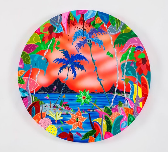 Erik Parker, <em>Orange Outlook</em>, 2018. Acrylic on canvas, 40 inch diameter. © Erik Parker. Courtesy Mary Boone Gallery, New York.