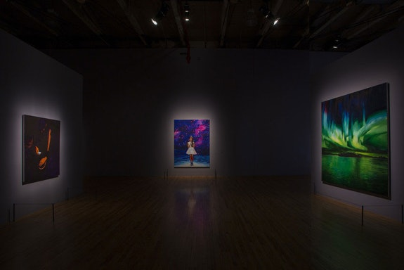 Installation view: <em>The Lure of the Dark</em>, Mass MoCA, 2019. Three works by Sam McKinniss. Courtesy Mass MoCA.