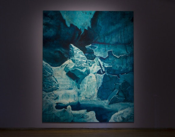 Cy Gavin, <em>Untitled (Bash Bish Falls)</em>, 2018. Oil and acrylic on canvas, 161 x 131 inches. Photo: David Dashiell. Courtesy Mass MoCA.