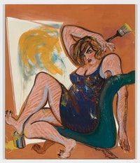 Ella Kruglyanskaya, <em>Painter, Discontented</em>, 2018. Oil on linen, 89 x 75 inches. Courtesy the artist and Gavin Brown's enterprise, New York / Rome.