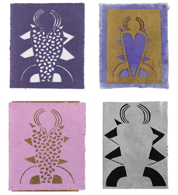 Clockwise from top left: Margrit Lewczuk, <em>Blue Angel</em>, 2015. Collage with colored paper, 14 1/4 x 11 1/2 inches; <em>Gold Angel</em>, 2015. Collage with metallic paper 13 x 8 3/4 inches; <em>Purple Angel</em>, 2015. Collage with metallic paper, 17 1/2 x 13 1/4 inches; <em>Silver Angel</em>, 2015. Collage with metallic paper, 13 1/2 x 10 inches. Photos: Brian Buckley. Courtesy the New York Studio School.
