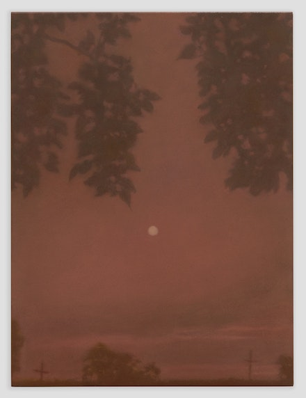 Matvey Levenstein, <em>Pink Moon</em>, 2018. Oil on copper, 12 x 9 inches. Courtesy the artist and Kasmin Gallery.