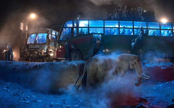 Nick Brandt, <em>Bus Station with Elephant in Dust</em>, 2018. Archival pigment print, 56 x 89.6 inches. Courtesy Waddington Custot.