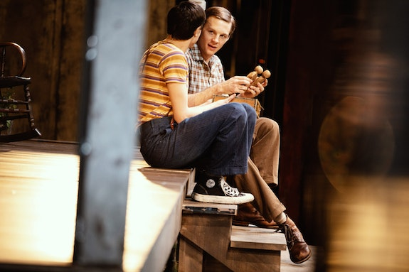 Left to right: Gideon Glick and Will Pullen in <em>To Kill A Mockingbird</em> on Broadway. Photo: Julieta Cervantes.