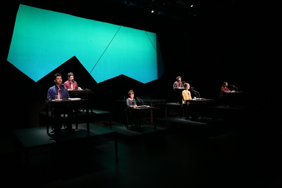 Paul Pinto, Dave Ruder, Aliza Simon, Gelsey Bell, Brian McCorkle, Amirtha Kidambi in <em>Improvement</em>. Photo: Al Foote III