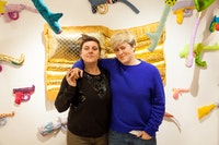 Carolina Wheat-Nielsen & Liz Nielsen in front of installation by Natalie Baxter at Elijah Wheat Showroom, March, 2018. Photo: Joshua Simpson