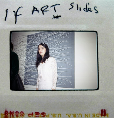Slide of Eva Hesse at opening of <em>Eccentric Abstraction</em>, Fischbach Gallery, 1966.Photo: Norman Goldman