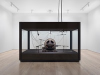 Kevin Beasley, <i>A view of a landscape: A cotton gin motor</i>, 2012-18. Installation view, Whitney Museum of American Art, New York, 2018-2019. GE induction motor, custom soundproof glass chamber, anechoic foam, steel wire, monofilament, cardioid condenser microphones, contact microphones, microphone stands, microphone cables, and AD/DA interface. Courtesy Casey Kaplan, New York. Photo: Ron Amstutz.