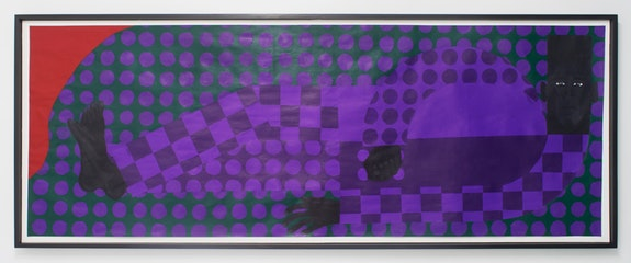 Jon Key, <i>Man in the Violet Dreamscape No. 3 (Man in the Violet Suit No. 10 (Green) )</i>, 2018. Acrylic on paper, 24 x 65 x 3 inches.Courtesy Rubber Factory.