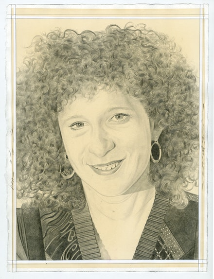 Portrait of Ellen Altfest, pencil on paper by Phong Bui.