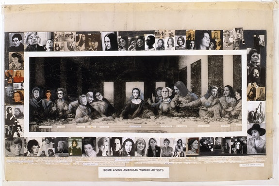 Mary Beth Edelson, <em>Some Living American Women Artists</em>, 1972, cut and pasted gelatin silver prints with crayon and transfer type on printed paper with typewriting on cut and taped paper, 28 1/4