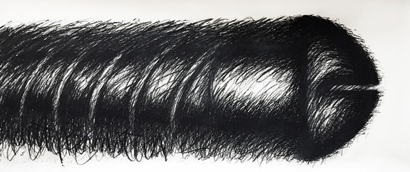 Judith Bernstein, <em>Horizontal</em>, (1978), Charcoal on Paper, 150 x 52 inches. Courtesy the artist.