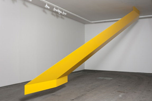 Robert Grosvenor, <em>Untitled (yellow)</em>, 1966/2016. Aluminum and epoxy enamel, 156 x 336 x 151 1/8 inches. Installation view, LACMA, 2017. © Robert Grosvenor. Courtesy Paula Cooper Gallery, New York.