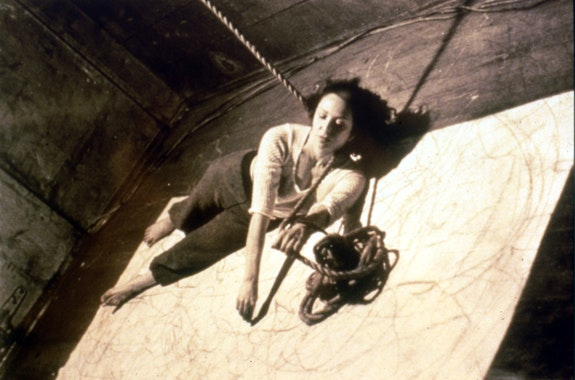 <em>Trackings (Up to and Including Her Limits)</em> at the Avant Garde Festival in Grand Central Station organized by Charlotte Moorman.1973. Photo by Tal Streeter.