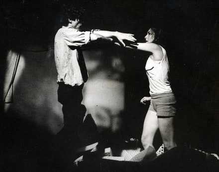 <em>Night Crawlers</em>, (1967) at Montreal Expo. Carolee Schneemann and James Tenney collaboration. Photographer unknown. Courtesy Carolee Schneemann