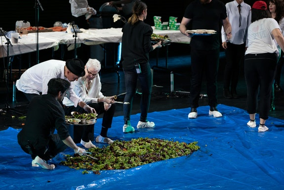 Alison Knowles performs <em>Proposition #2: Make a Salad</em> (1962/2019) at Walt Disney Concert Hall as part of the LA Phil's Fluxus Festival. Photo by Ian Byers-Gamber courtesy of the LA Phil