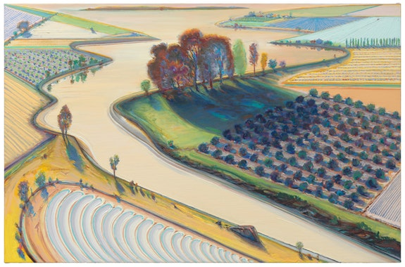 Wayne Thiebaud, <em>Flatland River</em>, 1997. San Francisco Museum of Modern Art, purchase through a gift of Phyllis C. Wattis; © Wayne Thiebaud / Licensed by VAGA at ARS, New York. Photo: Katherine Du Tiel.